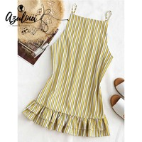 AZULINA Stripes Ruffle Shift Mini Dress Women Summer Beach Dress Backless Sleeveless Sundress Casual Bandage Straight