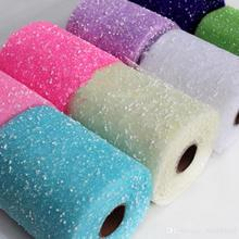 6piece/lot 26yard Length Tulle Spool Snowflake Gauze Roll DIY Wedding Party Favors Bridal Bouquet Organza Adornment wdv005