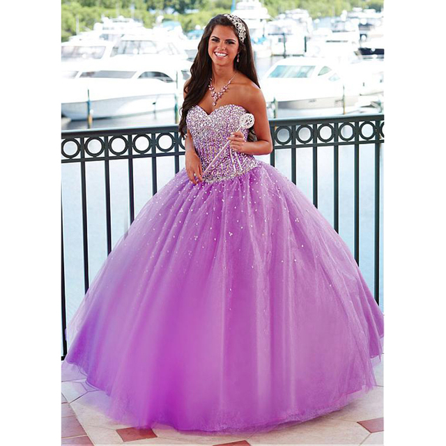 a5761f20081 new 2017 Lilac Beaded Sweetheart Ball Gown Prom Dresses Long Princess Corset  Sparkly Crystal Organza Party
