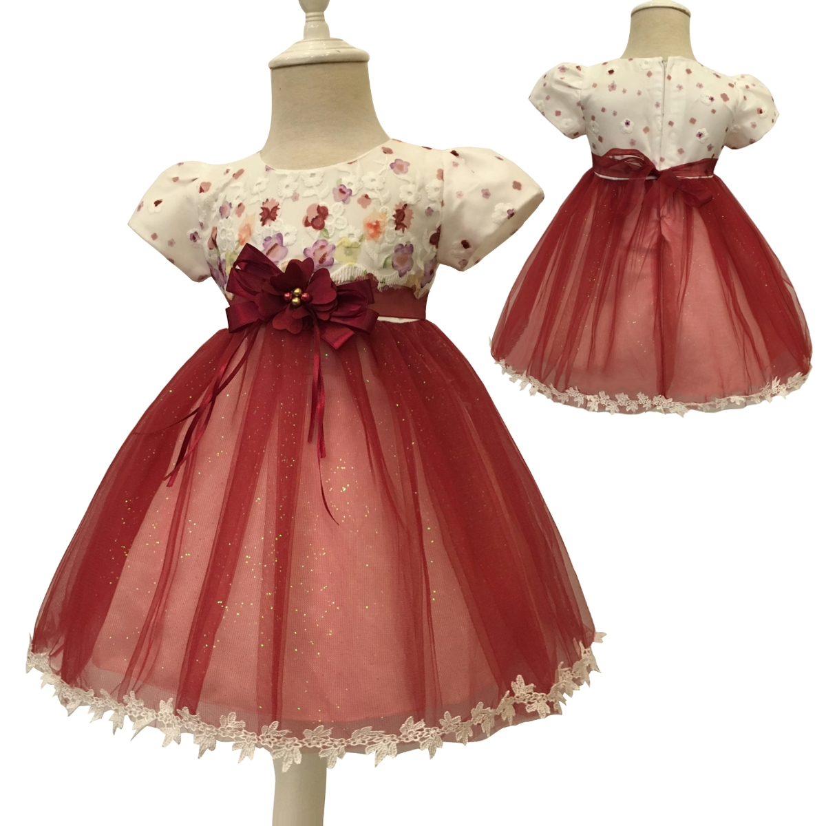 Free Shipping Patchwork 70-130 Infant Dresses 2018 Last Arrival Short Sleeves Baby Dress For 1 Year Girl Toddler Princess Gowns