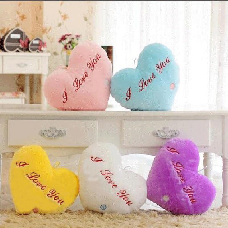 Jastučić u obliku srca u obliku jastuka Plišane igračke Svjetleća igračka s jastucima LED svjetlo jastuk sjaj u tamnom pliš jastuk igračke pokloni