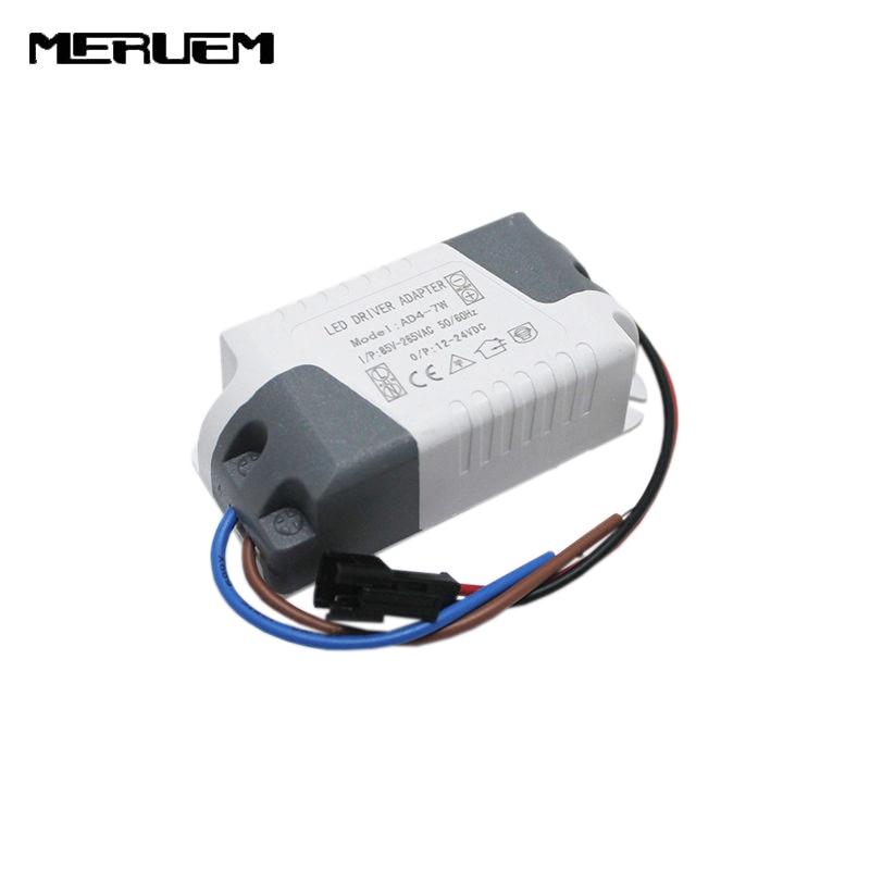 Transporti falas 6 copë / shumë (4-7) x 1W Shofer llambë 4W 5W 6W 7W Shofer llambash Ndriçimi i energjisë Transformatori AC85-265V për Dritat LED