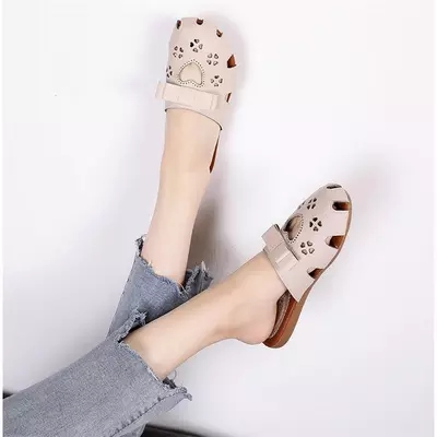 Sandals and slippers female 2018 models wild without heel wear baotou half trawl net red slippers 5