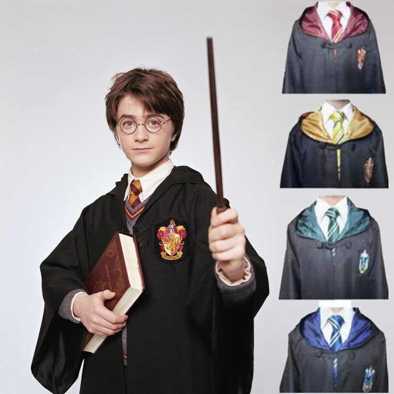 d4953cc74efe Harry Potter Outfits Cape Hogwarts Uniform Cloak Gryffindor Ravenclaw  cosplay Magic Robe Halloween costume for kids