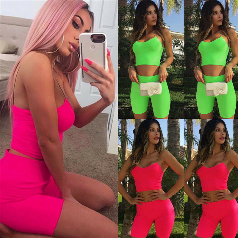 2019 New Fashion Women's Ladies Casual Tracksuit  Stretchy Sleeveless Tank Top Short Skinny Pants Outfits Set 2 Piece