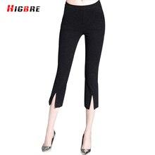 2017 Summer Women's Cropped Trousers Capris Elastic Harem Flare Pants Women Trousers Elastic Waist Split Design Pantalones Mujer