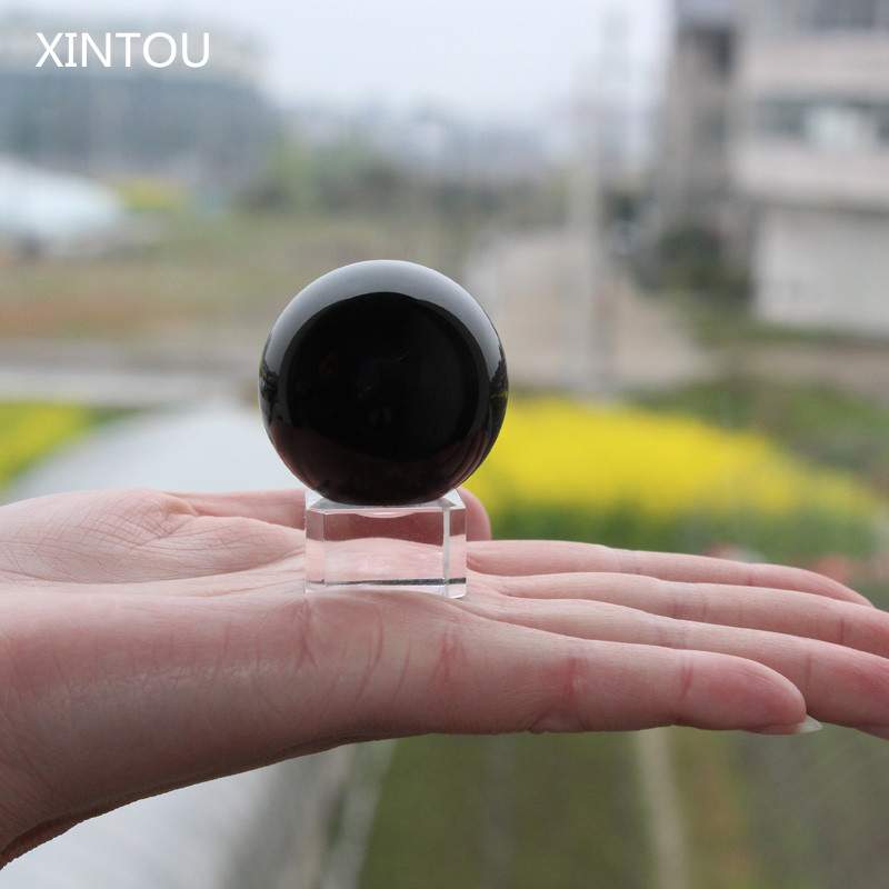 XINTOU Black Obsidian Divination Sphere Crystal Ball Paperweight Natural Feng shui Home Decor ornaments Craft Gift with stand
