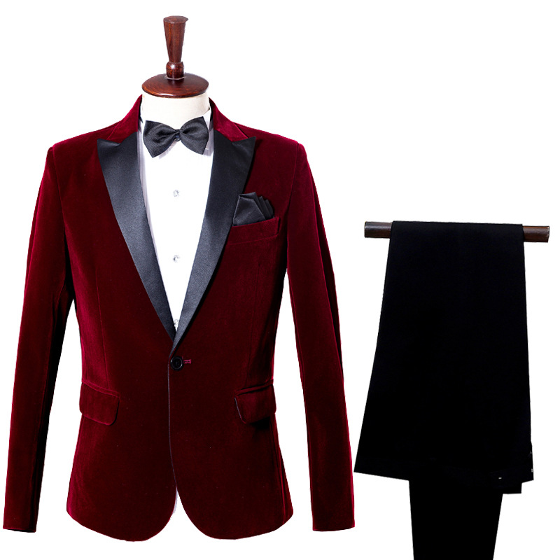 Male Casual Groom Tuxedo Suit Groomsmen Men Wedding Prom Suits Business Suits Wine Red Velveteen Blue