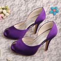 Wedopus High Heeled Wedding Purple Shoes Peep Toe Women Platforms Brand