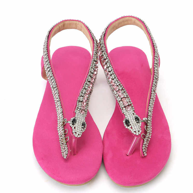 0b722ede72a6b Mstacchi Rose Red Women Sandals Strange Shoes Rhinestones Snake Chains  Thong Spot Women's Shoes Diamond Flat Sandals Large Size
