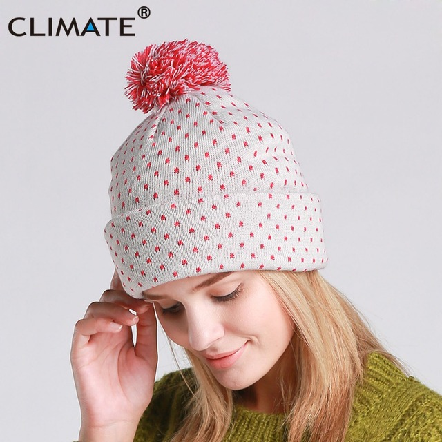 05811525859 CLIMATE Women Autumn Winter Warm Beanie Hat Lady Nice Soft Pretty Warm Pom  Poms Pompom Knitted Hat Beanies Cap For Women Girls