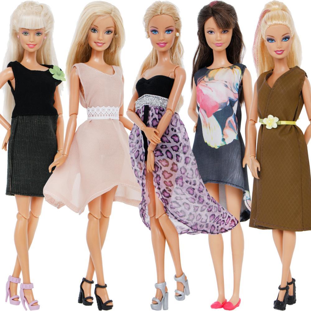 10 unids/set = 5x moda princesa mezcla vestido Sexy + 5x tacones altos sandalia plana ropa para Barbie muñeca accesorios de juguete