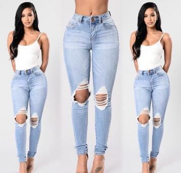 Wholesale new women s self cultivation stretch hole jeans small feet pants female