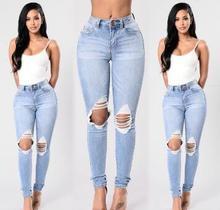 Оптовая новых женщин самосовершенствование стретч отверстие джинсы маленькие ноги штаны женщина