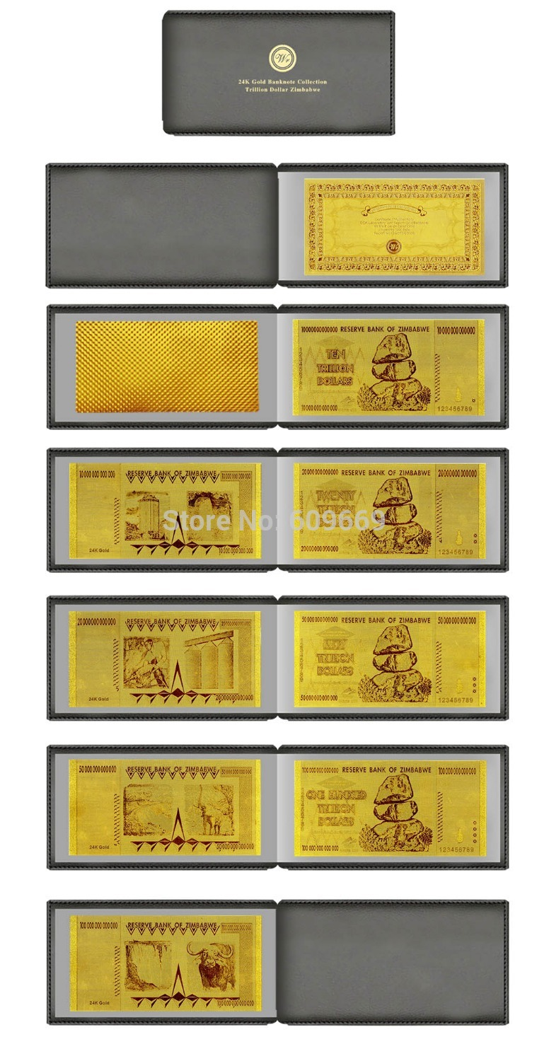 Karate ornament -  One Lot 4pcs Zimbabwe 99 9 Pure 24 Karat Gold Foil Banknote Along With Leather Case For Ornament
