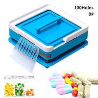 ABS bleu Capsule de remplissage plaque 100 trou Machine de remplissage manuel Capsule #0 médecine Capsule Production bricolage herbe
