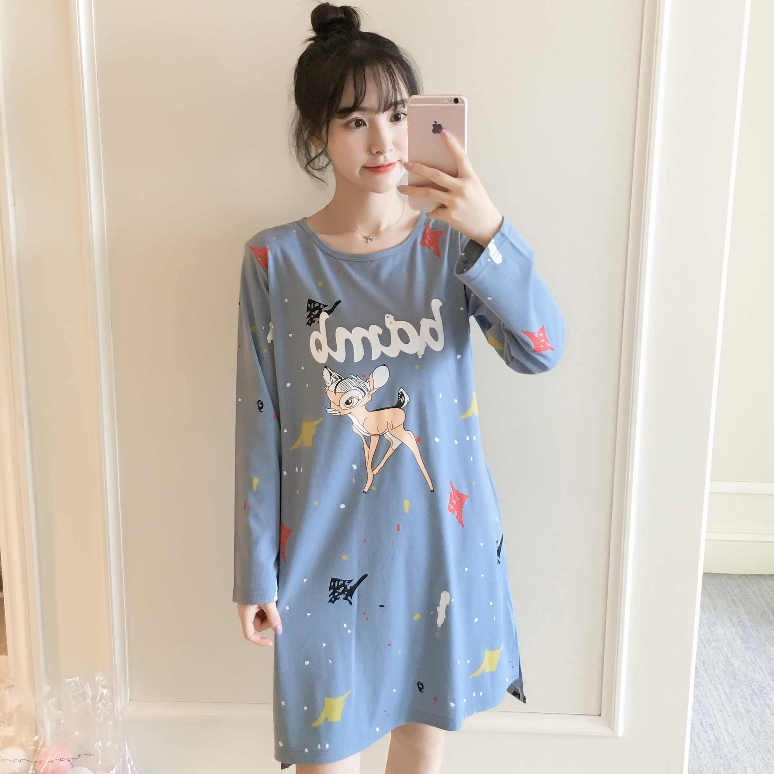 2c5674f835 ... 2018 Autumn Winter Warm Cotton Nightgown Girl Sleepwear Nightgown  Cartoon Print Nightdress Home Wear Lovely Nightgowns ...