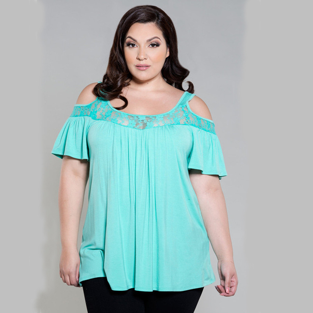 Plus Size T-shirt Women Tops Summer 2016 Lace Off Shoulder Short Sleeved Tee Shirt Loose Casual T Shirt Female Large Sizes