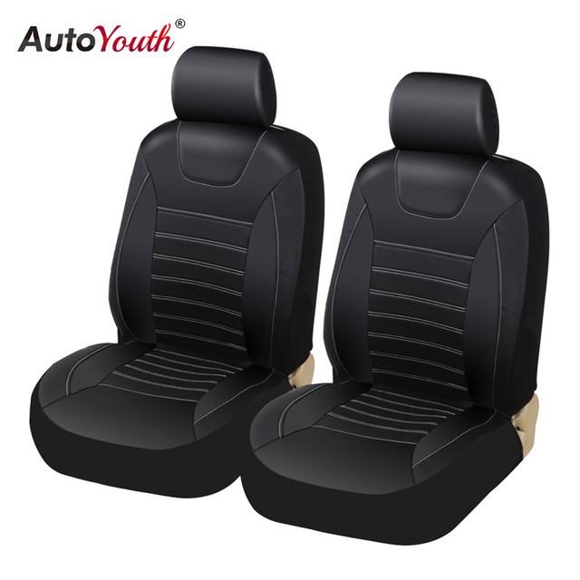 Front Seat Cover for Driver and Passenger PU leather Seat Covers Eco-friendly Breathable Mesh Fabric Universal Seat Protector