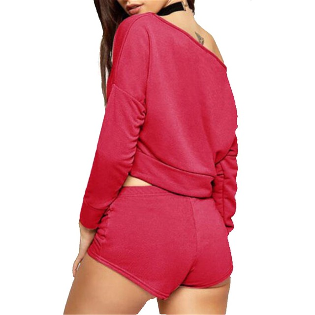 Sexy Women's Two Piece Cotton Drawstring Shorts and Top