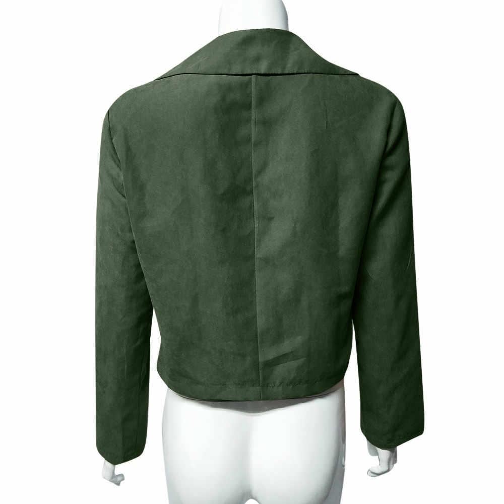 春の女性のジャケットカジュアル長袖ジッパーの女性のジャケット 2020 ファッションターンダウンジャケット上着ソフト女性革トップス