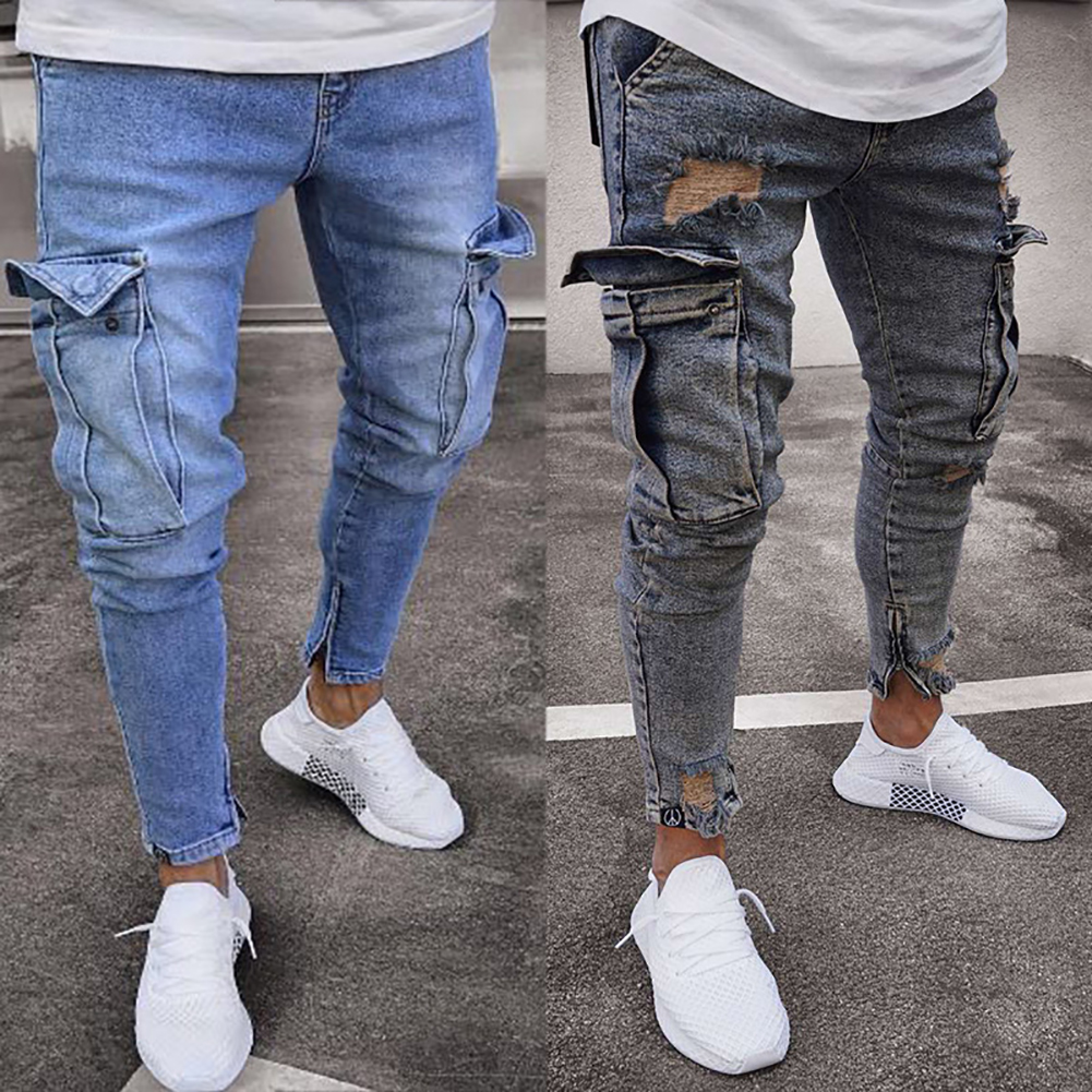 HTB1Ch0vKr1YBuNjSszhq6AUsFXaN Men's jeans trend knee hole zipper feet pants hi road men knee eversion