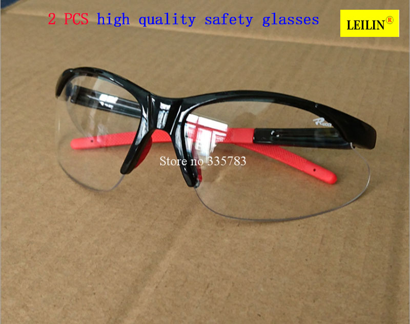 2PCS High Quality PC Eye Protector Impact resistant protective glasses goggles Dust storm cycling dustproof glasses safety work industrial eye safety goggles anti impact and anti chemical splash goggle glasses dustproof polycarbonate protective glasses