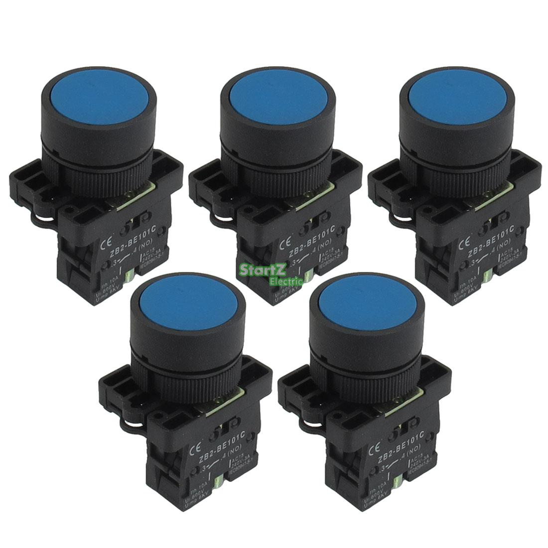 5 x 22mm 1 NO N/O Blue Sign Momentary Push Button Switch 600V 10A
