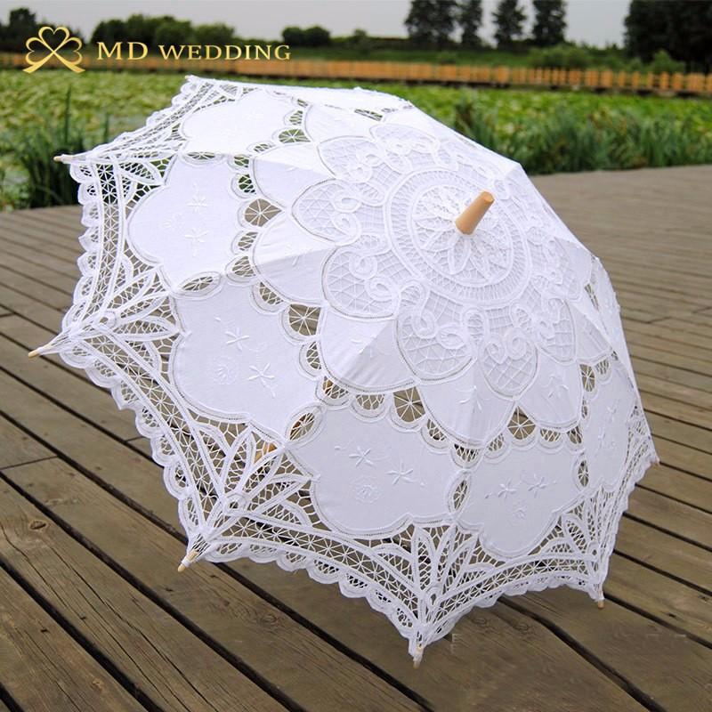 New Lace Umbrella Cotton Embroidery White/Ivory Battenburg Lace Parasol Umbrella Wedding Umbrella Decorations Free Shipping 9