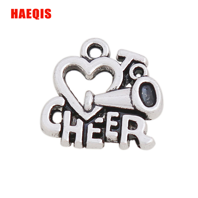 Haeqis alloy heart letter charms love to cheer charms for haeqis alloy heart letter charms love to cheer charms for cheerleader gifts 1616mm 50pcs altavistaventures Gallery