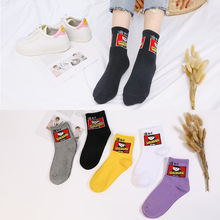 цены Harajuku Painting Casual Women Cotton Socks Skateboard Harajuku Cute Funny Socks Japanese Street Socks For Women Ankle Solid Sox