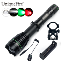 Uniquefire Tactical Led Flashlight 1508 38mm XRE 3 Modes Rechargeable Lamp Torch+Remote Pressure+Charger+Scope Mount To Hunting