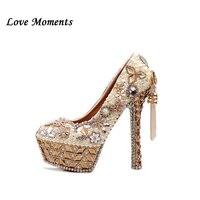 Роскошные свадебные туфли с кристаллами женские туфли на платформе с очень высоким каблуком туфли невесты с кисточками и жемчужинами сваде