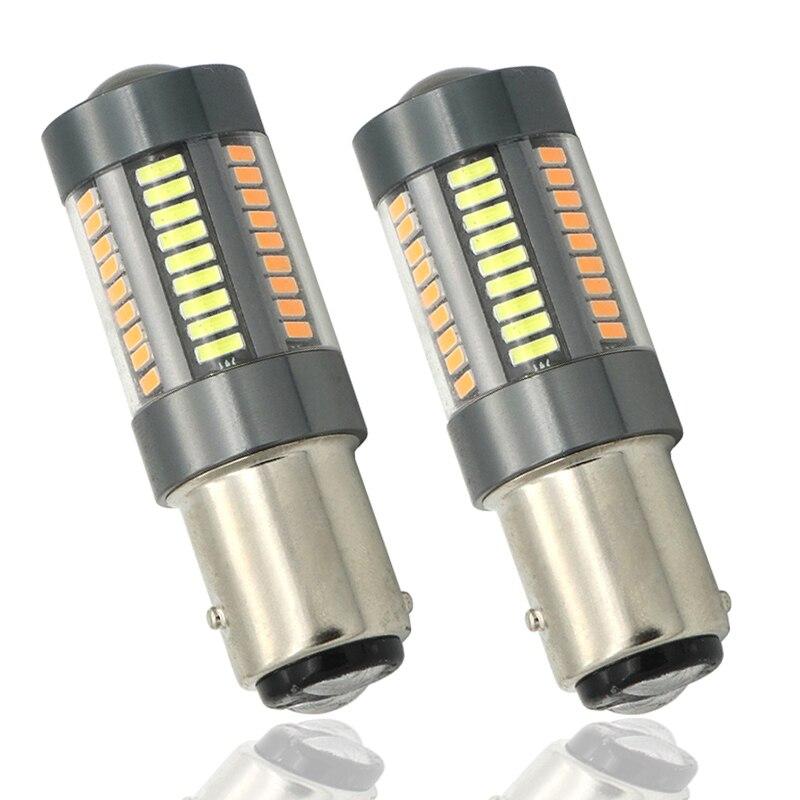 2 pz Super Bright Doppio Colore Bianco Giallo Daytime Running Light 1157 BAY15D S25 P21W LED Switchback Lampadina Indicatori di Direzione Anteriori Ligh