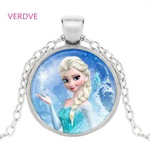 Брендовая женская длинная цепочка, ювелирное ожерелье, кристалл, кабошон, принцесса Эльза, Анна, снежный кулон в виде королевы, ожерелье для девочек