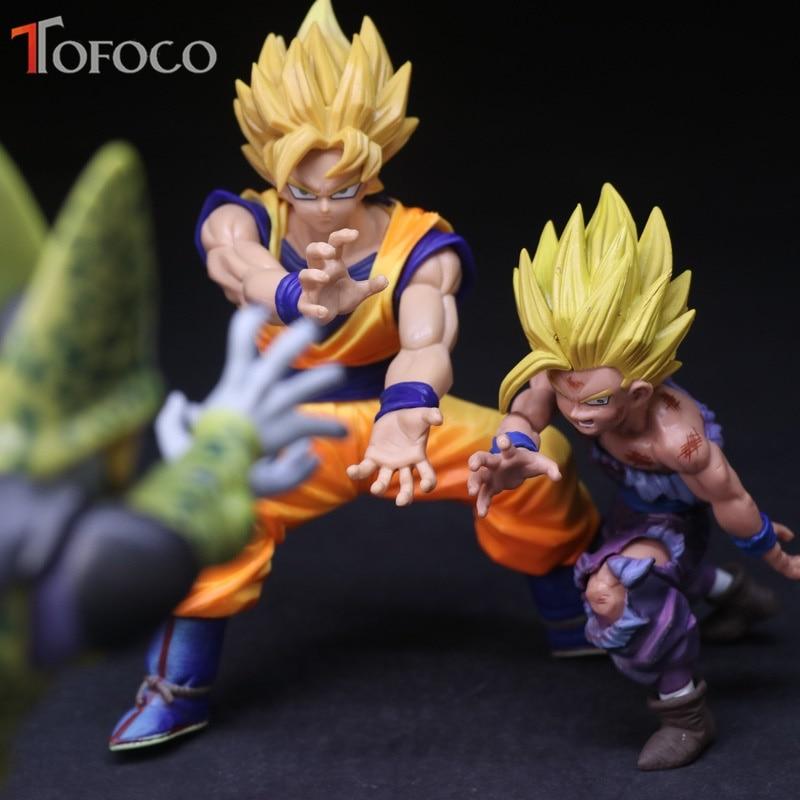 TOFOCO Original Super Saiyan Gold Son Goku Banpresto Figure Gohan Cell Dragon Ball Z Action Figure Model Toys 12-17cm