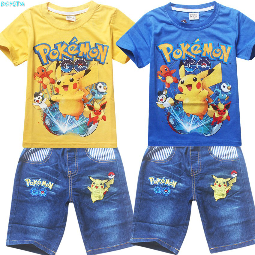 New 2017 Boys Clothing Sets Pokemon Go Short Sleeve T-Shirt+Jeans Set Summer  For Boys Cartoon Pikaqiu Baby Leisure Suit 3-10Y
