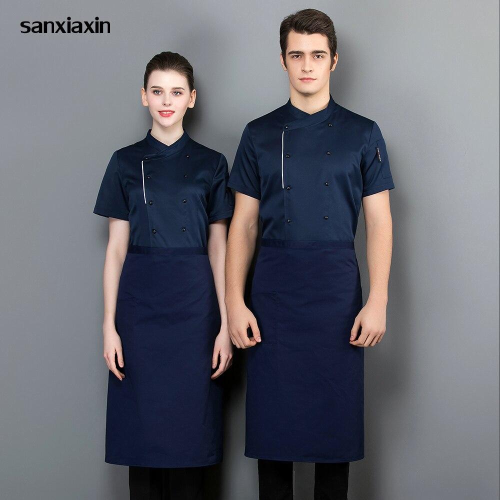 Unisex Kitchen Chef Restaurant Uniform Short Sleeved Shirt Men Chef Breathable Hotel Kitchen Work Clothes Chef Jacket Wholesale