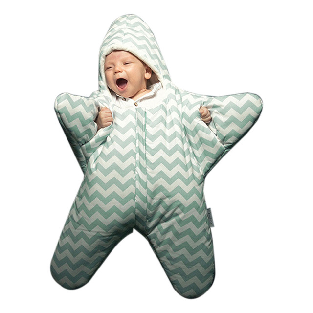 Cute Starfish Baby Sleeping Bag Unisex Winter Babies Sleep Sack Warm Baby Blanket Swaddle Sleepsacks  High Quality