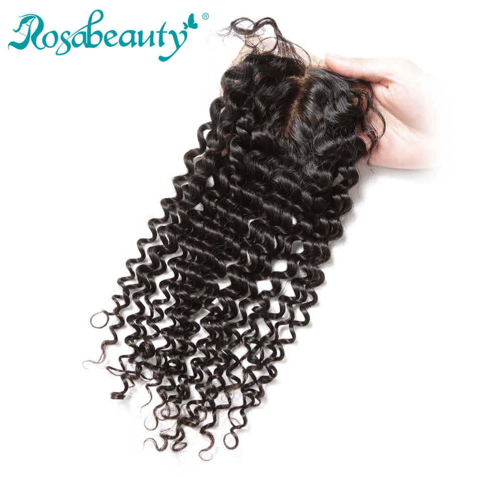 Rosabeauty Brazilian Deep Wave Silk Base Closure Remy Human Hair Closure 4x4 Siwss Lace with Bleached Knots Free Shipping