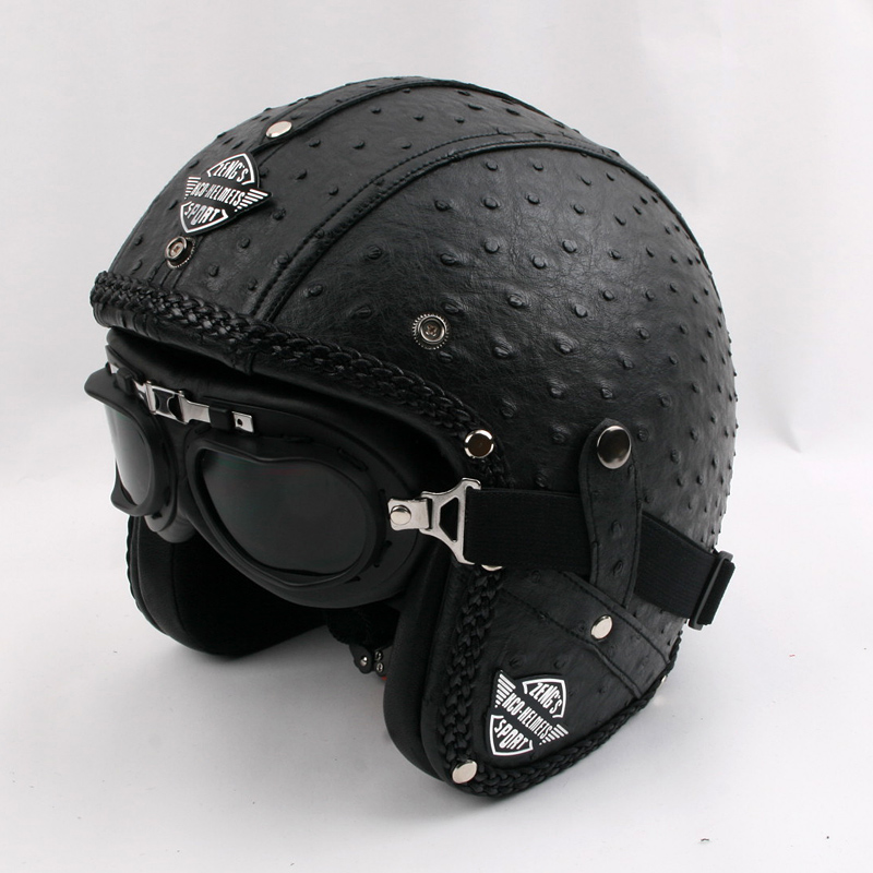 New arrival Cool Retro PU Leather Motorcycle Helmet ...