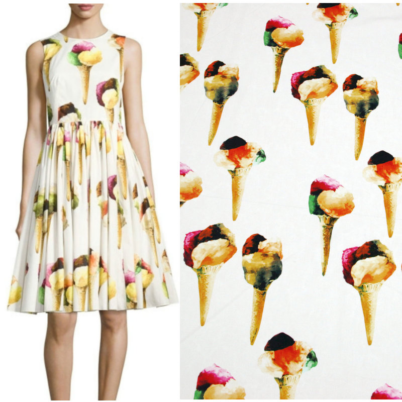 Wide 1.4m Ice Cream Printed Meter Fabric Cotton/Polyester Fabric Quilting home Cloth patchwork Sewing Material DIY Lady's Dress