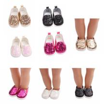 High Quality 1 Pair 43 cm Baby Sequins Doll Shoes Suitable For 18inch Doll Toy Sport Boots Doll Accessories Toy Accessories(China)