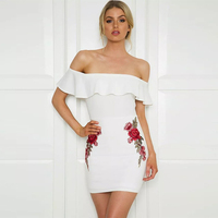 Sexy Embroidery Floral Backless Pencil Dress White Elegant Evening Party Sundress Club Bodycon Flower Women Summer Dresses