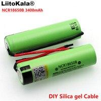 LiitoKala New Original NCR18650B 3.7v 3400mAh 18650 Li ion Rechargeable Battery Welding Silica gel Cable DIY For