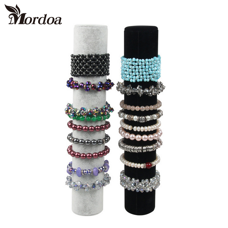 Mordoa Hot Selling Black Or Gray Velvet Bracelet Display Holder Jewelry Receiving For Bracelets Bracelets Organizer Shelf