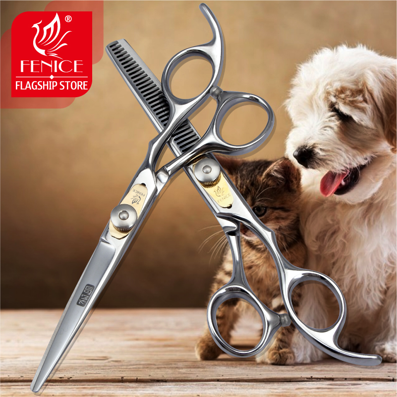 فينيس المهنية اليابان 440c 6.0 بوصة كلب الاستمالة مقص مجموعة قطع + ترقق مقص ترقق معدل حوالي 25٪ -30٪