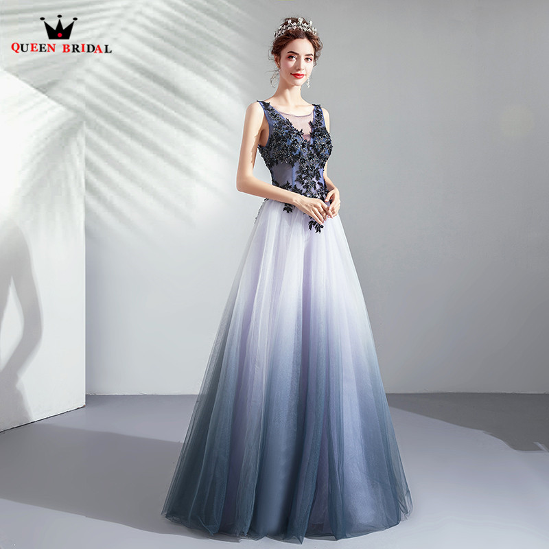 Luxury Vintage Blue   Evening     Dresses   2019 Fashion A-line Tulle Lace Beaded Flowers Party Gowns   Dress     Evening   Gown CS184