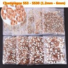 All Sizes Champagne ss3 Nail Art Rhinestones Flatback Non HotFix Rhinestone For DIY, Decorations, Garment Accessories