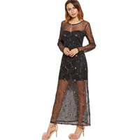 Lady Charming Transparent Maxi Dress Vestidos Robe Emboidery Florals Mesh Long Sleeve Back Hollow out Party Long Dresses FD6037